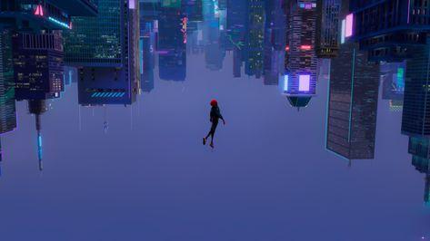 HD wallpaper: cyberpunk, skyscraper, upside down, animated movies, Spider-Man