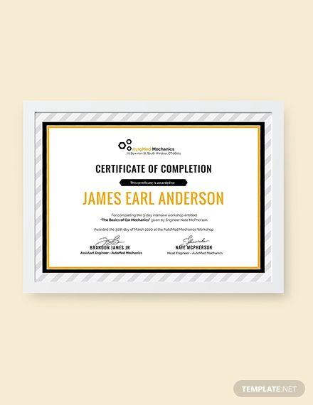 Free Car Workshop Experience Certificate Certificate Templates