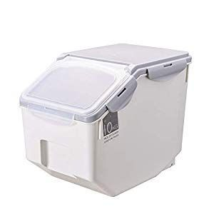 Pet Food Storage Container Moistureproof Sealing Dog Food Storage Box Bucket Plastic Pet Food Bin Food Dispenser For Dogs Cats Two Wheel 10kg 22ib 22ib Goruntuler Ile Plastic