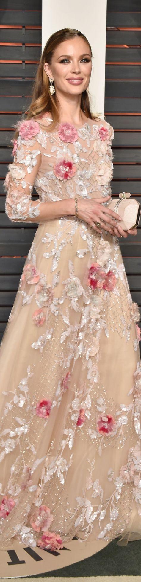Georgina Chapman in Marchesa Oscar 2016 - floral luxury dress.