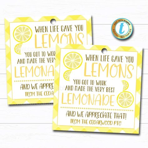 Lemons Gift Tag, When Life Give You Lemons Quarantine Appreciation Week Gift, Thank You Volunteer Coworker Staff Teacher, Editable Template