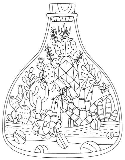 Cactus And Succulent Printable Adult Coloring Pages Easy