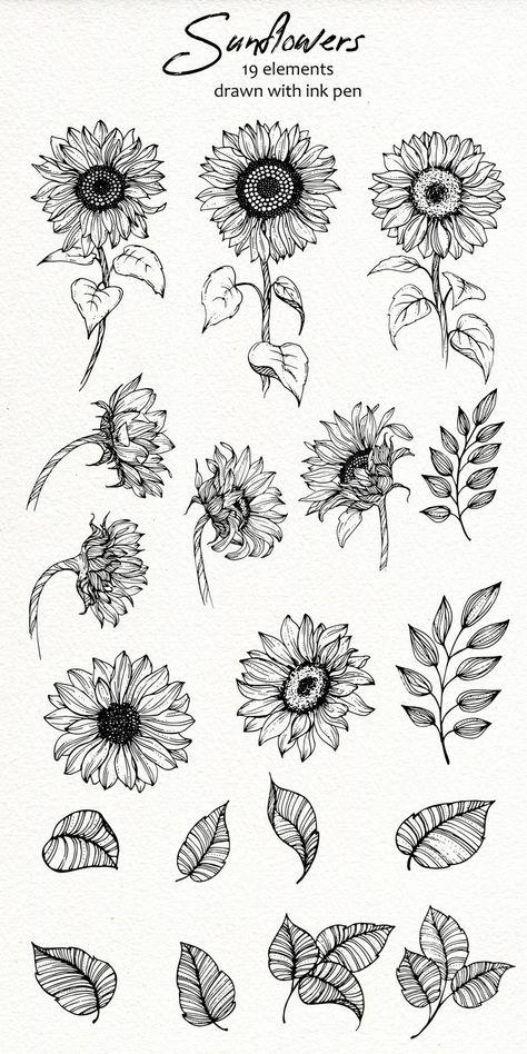 Sunflower Drawing, Sunflower Tattoos, Sunflower Tattoo Design, Colorful Sunflower Tattoo, Cute Tattoos, Small Tattoos, Tatoos, Tattoo Avant Bras, Sunflower Clipart