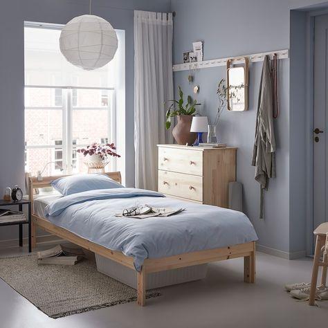 Ikea Neiden Pine Birch Luroy Bed Frame In 2020 Wooden Bed