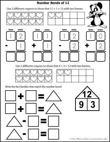 Number Bonds To 12 Free Math Worksheets Free Math Free Math Worksheets Free Math Printables