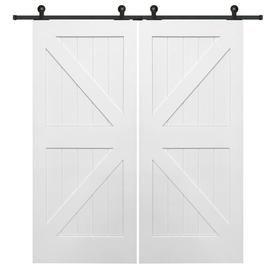Mmi Door Primed K Frame Mdf Barn Door Hardware Included Common 72 In X 82 In Actual 72 In X 8 Barn Doors Sliding Double Sliding Barn Doors Glass Barn Doors