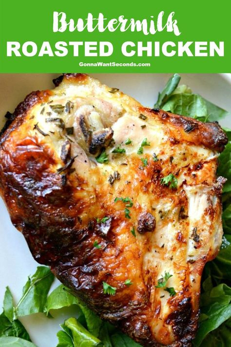 Buttermilk Roasted Chicken - What's For Dinner? - *NEW* Our buttermilk roasted chicken recipe is marinated then roasted in the oven. It's flavored throughout the meat and is moist and tender with crispy skin. Roasted Chicken Breast, Oven Roasted Chicken, Roast Chicken Recipes, Healthy Chicken Recipes, Turkey Recipes, Meat Recipes, Cooking Recipes, Roast Chicken Dinner, Easy Roast Chicken
