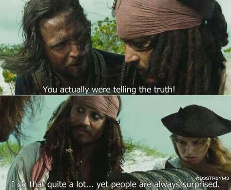 pirates of the caribbean, jack sparrow, telling the truth - Sep 30 2013 PM Captain Jack Sparrow, Jack Sparrow Quotes, Jack Sparrow Funny, Funny Memes, Hilarious, Funny Quotes, Funny Videos, Quotes Quotes, 9gag Funny