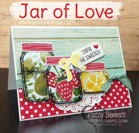 Stamping this fun card with the Jar of Love set and the Fruit Stand designer paper from Stampin' Up! is about as close to canning fruits or veggies that I will ever get! My grandma used to can EVER