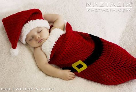 This baby santa hat pattern and baby cocoon   baby bunting is just too cute!  This makes a wonderful baby s first Christmas gift – plus the outfit looks  ... 628bc892ada2