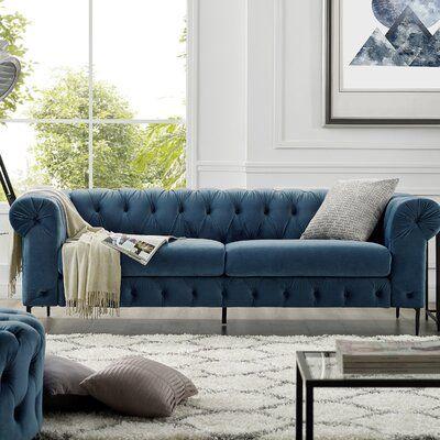 House Of Hampton Koffler 94 Wide Velvet Rolled Arm Chesterfield Sofa Velvet Chesterfield Sofa Furniture Sofa