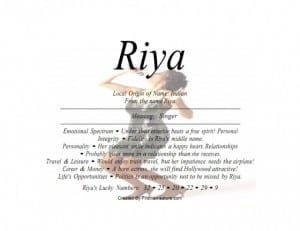 Meaning Of The India Female Name Riya Is Singer Female Names Names With Meaning Meant To Be