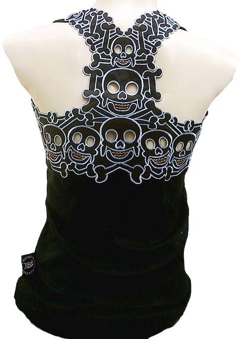 Rockabilly Punk Rock Baby Damen Designer Tank Top Shirt Biker Skull Engel Gothic Totenkopf schwarz Tattoo Design