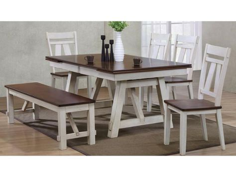 Stupendous Winslow 6 Piece Two Tone Refectory Table Set With Bench By Squirreltailoven Fun Painted Chair Ideas Images Squirreltailovenorg