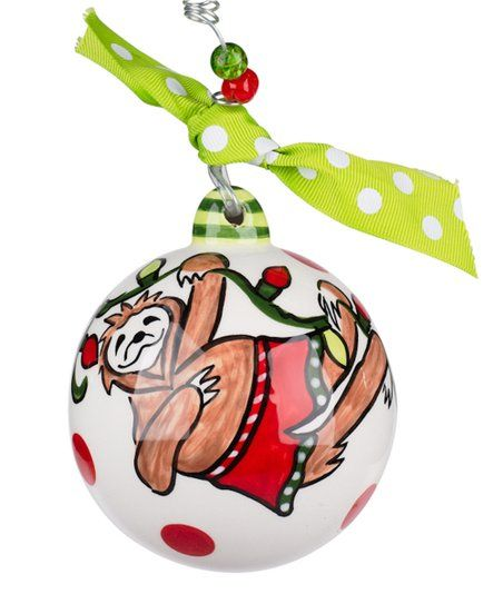 White Red Merry Slothmas Ornament Zulily In 2020 Christmas Ornaments Painted Christmas Ornaments How To Make Ornaments