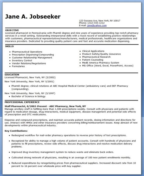 Chemist Resume Objectives Resume Sample LiveCareer Resume - ambulatory pharmacist sample resume
