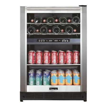 Stainless Steel 23 Inch Wide 44 Bottle Capacity Built In Wine Cooler With Dual Zone Cooling Beverage Center Beverage Cooler Magic Chef