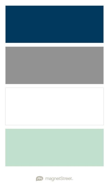 Navy, Classic Gray, White, and Celadon Nursery Color Palette - custom color palette created at http://MagnetStreet.com