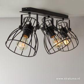 Industriele Spot Plafondlamp Draad Zwart Www Straluma Nl Plafondlamp Industriele Woonkamers Zolder Verlichting