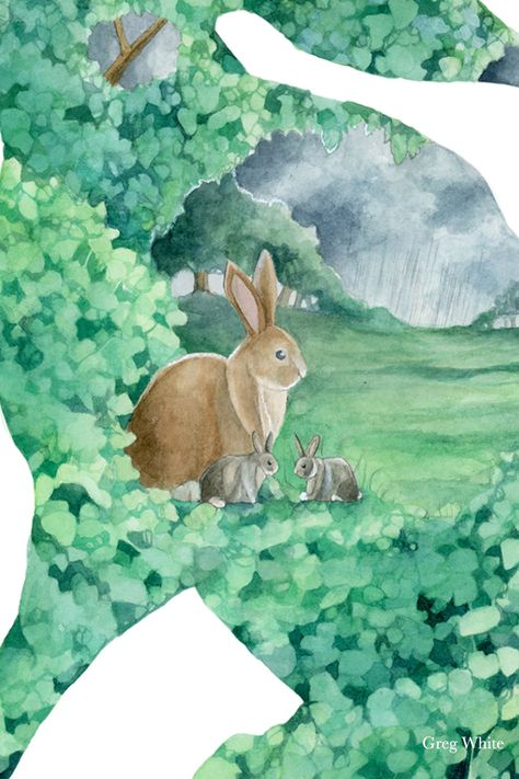 A mother rabbit and her young wait patiently in lush vegetation as a rainstorm passes. Surrounding them is a wealth of food, shelter, and other offerings from the earth. #rabbit #bunnies #bunny #motherhood #tarotcard #tarotdeck #greyskies #lushforest #greenleaves #rainyskies #greyskies #rainstorm