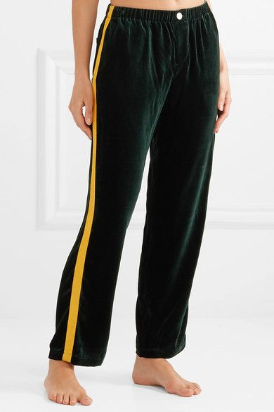 Sleepy Jones | Marina grosgrain trimmed velvet pajama pants