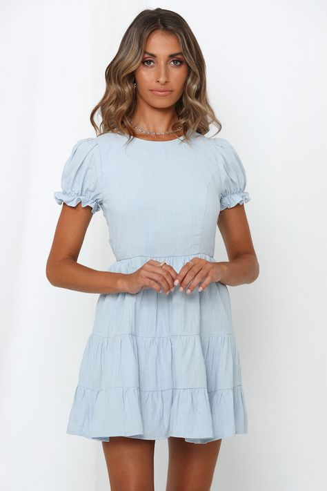 Deny It Dress Blue  #flaredskirt This brunch to bar mini promises mega insta envy with its fit-and-flare silhouette and cheeky cutout to the back! Love OTT details? It also offers trending puff sleeves with frilled cuffs and a flared skirt.#hellomolly #dresses #partydresses #outfit