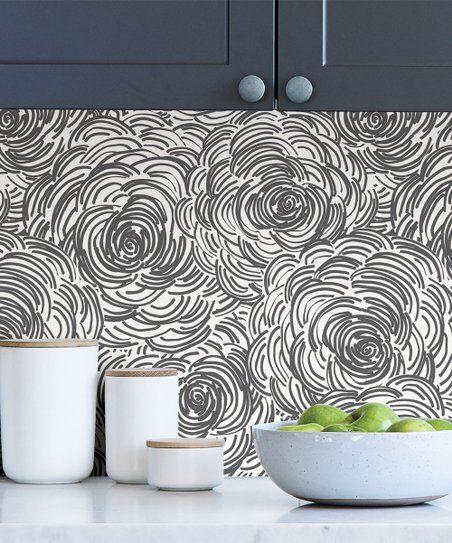 Wallpops Black Floral Peel Stick Wallpaper Zulily Peel And Stick Wallpaper Wallpaper Roll Black Floral
