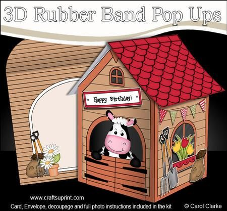 3d Milly Moo Cows Barn Rubber Band Pop Up Card 3d Rubber Band Pop