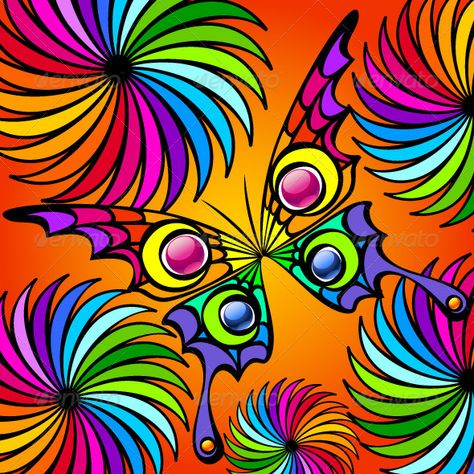 Buy Colorful Exotic Butterfly by verticalia on GraphicRiver. This image is a scalable vector illustration of elements and can be scaled to any size without loss of quality.