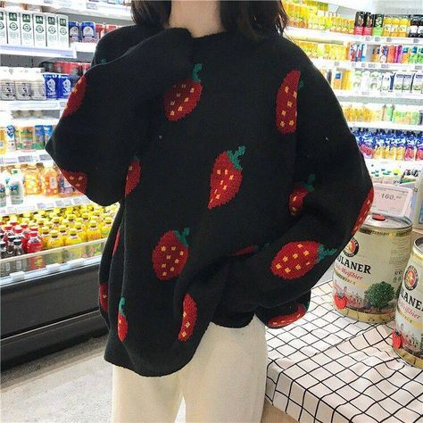 Korean Aesthetic Girl Strawberry Sweater