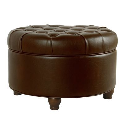 Asda Brown Faux Leather Tufted Round Storage Ottoman With Images