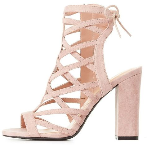 4a4081654bf Charlotte Russe Caged Lace-Up Back Sandals ( 39) ❤ liked on Polyvore  featuring shoes