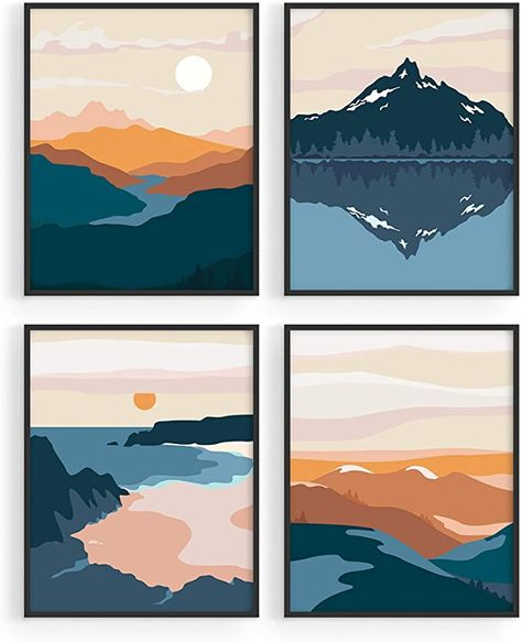 """Amazon.com: Nature Wall Art Prints Landscape Mountain Decor - by Haus and Hues   Mid-Century Wall Art   Modern Wall Decor Mountain Wall Art   Mountain Art Wall Decor (8""""x10"""", UNFRAMED): Posters & Prints"""