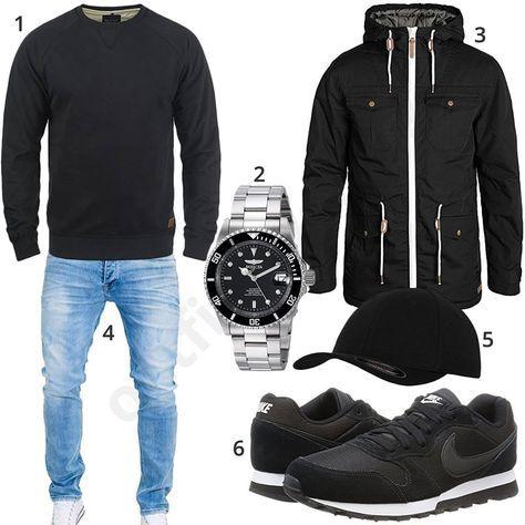 Herren Style Mit Schwarzem Pullover Jacke Und Nike Schuhen M0596 Outfits4you De Stylish Mens Outfits Mens Outfits Mens Casual Outfits