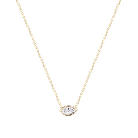 Our Marquise necklace is set with a 5x3.8mm marquise cut extra white diamond or a beautiful white sapphire.Goes perfectly well with our