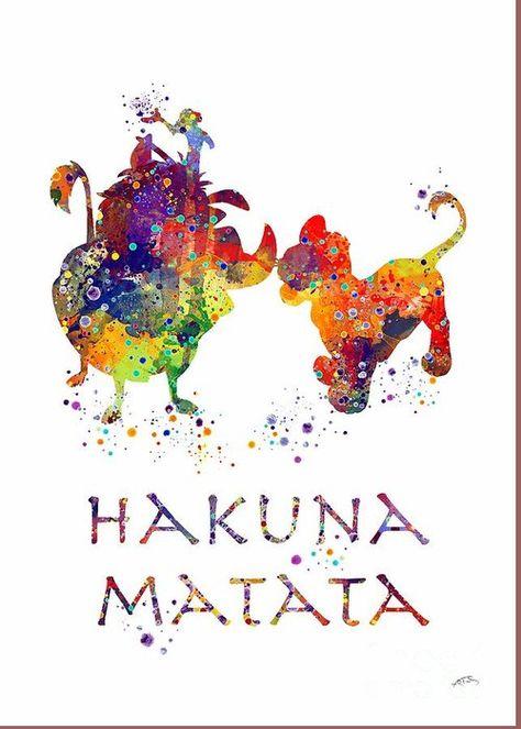 Hakuna Matata Watercolor Art Print Greeting Card