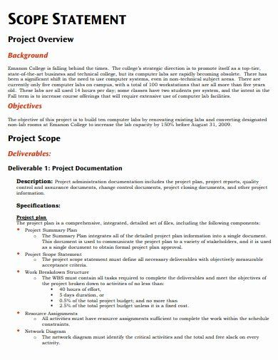25 Project Scope Statement Example Pdf In 2020 Statement