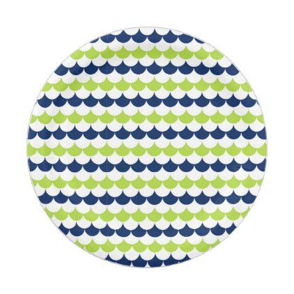 Green And Navy Blue Nautical Waves Paper Plate Zazzle Com In