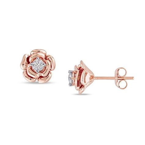 1 4 Ct T W Composite Diamond Frame Stud Earrings In 10k Rose Gold Stud Earrings Gold Earrings For Kids Gold Earrings Designs