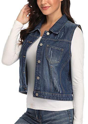 Womens  Denim Vest Jacket Button Up Sleeveless Cropped Distressed Jean JaCKET