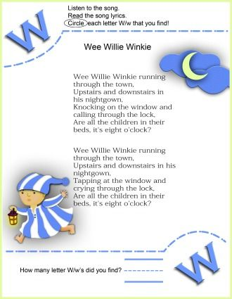Circle The Letter W Worksheet and Wee Willie Winkie Nursery Rhyme