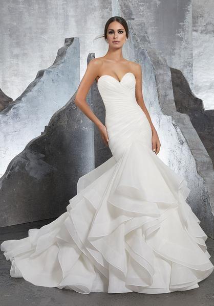 Blu By Morilee 5604 Karina Strapless Flounced Organza Mermaid Wedding Dress Bridal Dresses Sweetheart Wedding Gown Wedding Dress Organza