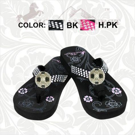 1e7e187b45b06f Black Soccer Concho Flip Flop.