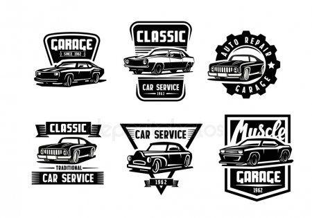 レトロな車が黒のベクトル ストックイラストレーション 車 ロゴ レトロ 車 ステッカー