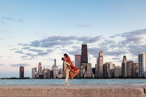 Chicago Indian wedding photo of bride and groom with skyline at sunset