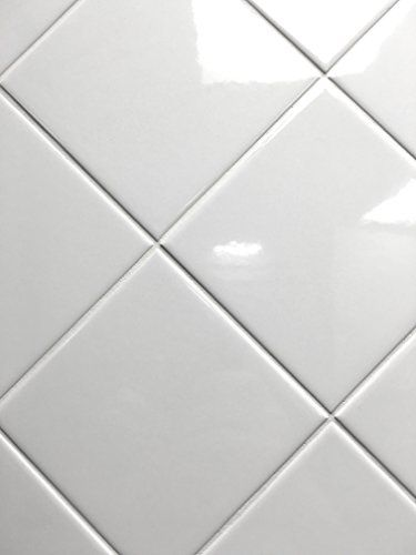 Set Of 12 Glossy White Ceramic Tiles For Arts Crafts By