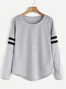 Light Grey Varsity Striped T-shirt