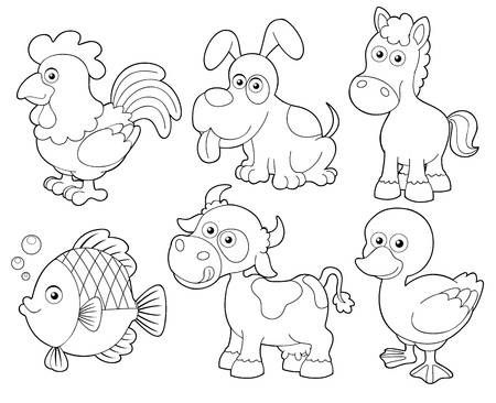 Ilustración De La Granja De Animales Para Colorear Libro De Dibujos Animados Coloring Books Farm Coloring Pages Coloring Pages