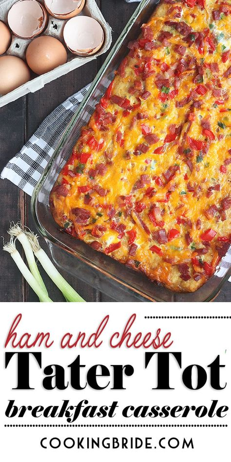 This easy, make-ahead ham and cheese breakfast casserole combines crispy tater tots, country ham, veggies and cheese for a delicious and satisfying meal. Serve it for breakfast or dinner! #breakfastcasserole #christmasbreakfast #tatertots