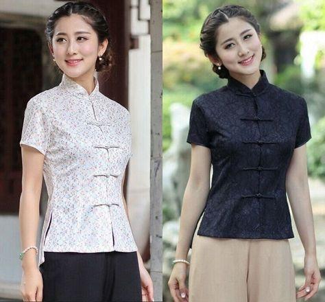 23d96d78 Black White Chinese Women'S Lace Tops/Shirt Blouse Cheongsam Sz: M L Xl 2Xl  3Xl
